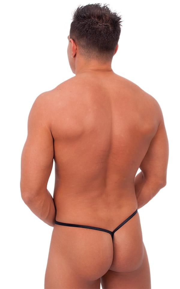 Teardrop G String Swim Suit in Wet Look Black 3