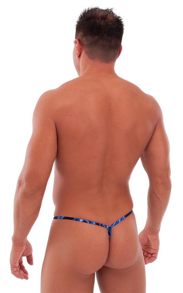Teardrop G String Swim Suit in Laser Blue Lightning 3