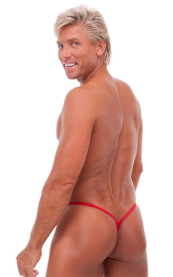 Teardrop G String Swim Suit in Wet Look Lipstick Red 3