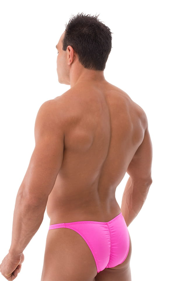 Fitted Pouch Puckered Back Bikini Swimsuit in Neon Hot Pink 3