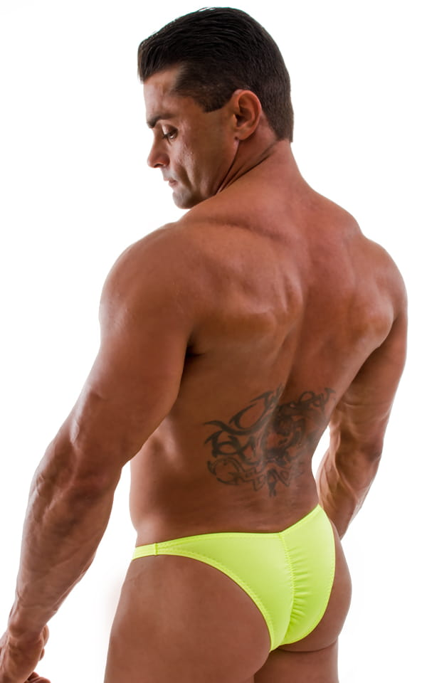 Posing Suit - Fitted Pouch - Puckered Back in Neon Chartreuse 3