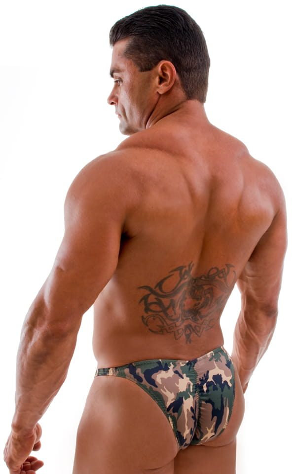 Fitted Pouch Puckered Back Bikini Swimsuit in Camouflage 3