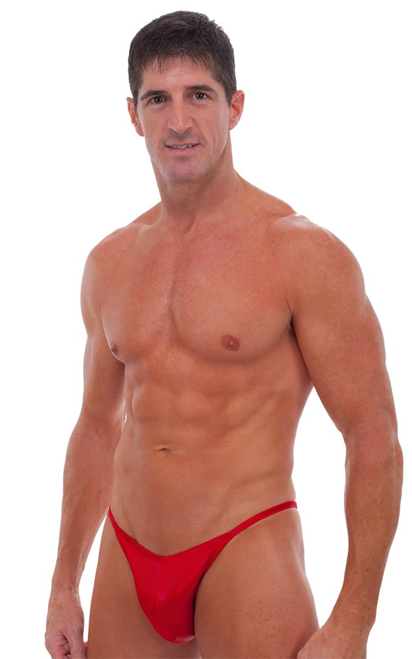 Fitted Pouch - Puckered Half Back - Swimsuit in Wet Look Lipstick Red 1