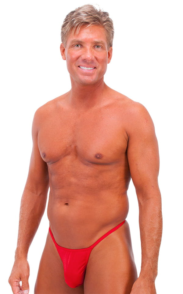 Smooth Pouch Skinny Sides Swim Thong in Wet Look Lipstick Red 1