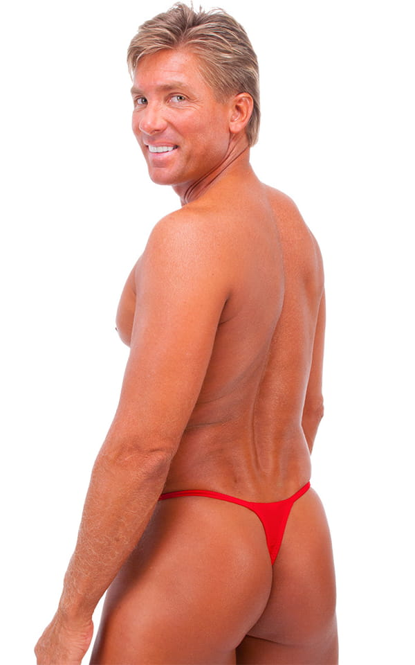Smooth Pouch Skinny Sides Swim Thong in Wet Look Lipstick Red 3