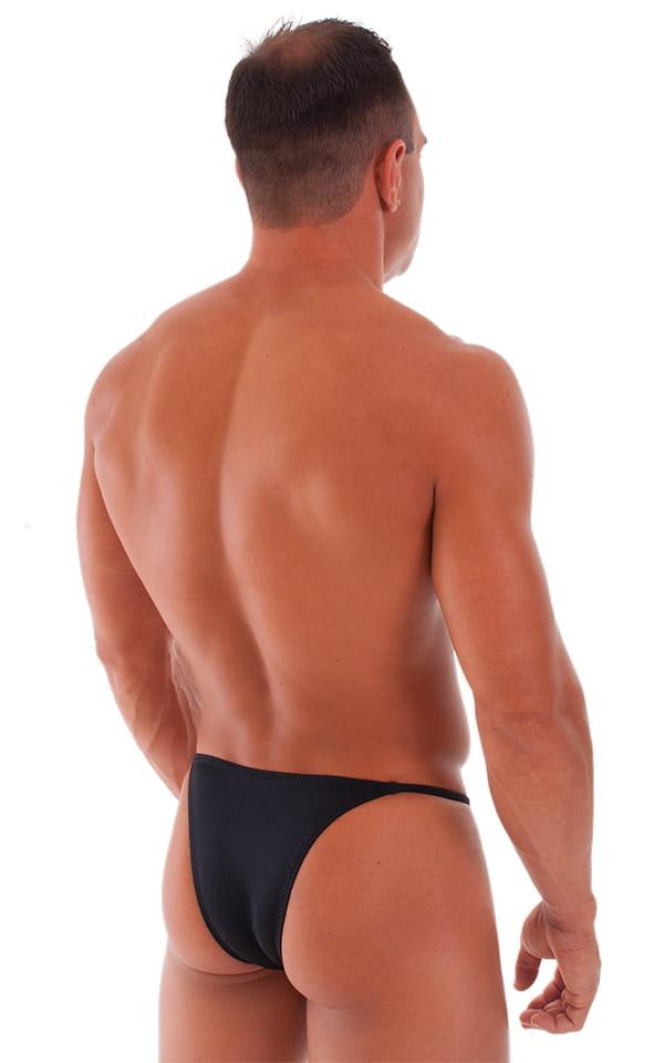 Skinny Side Half Back Swim Suit in Black 3