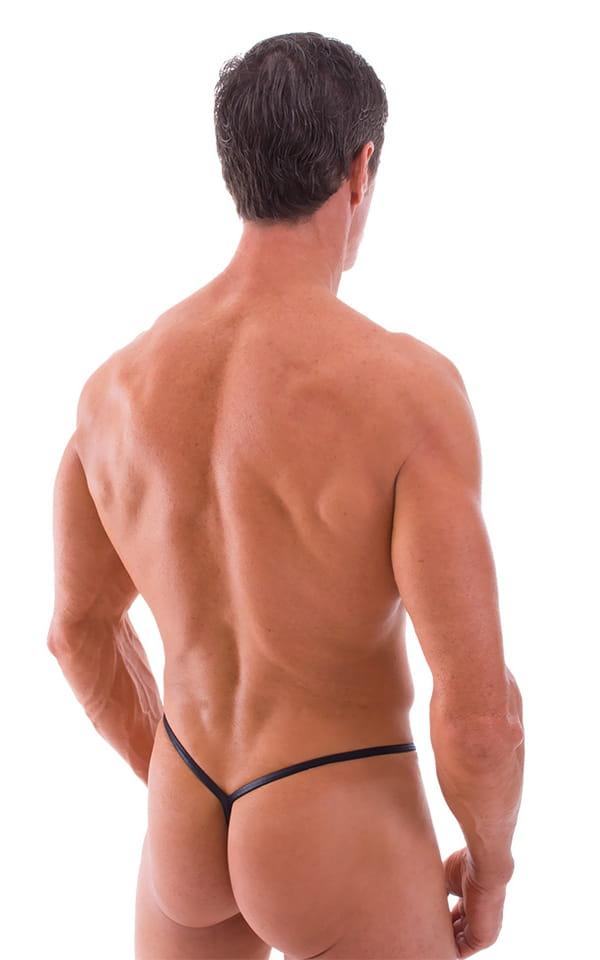 Y Back G String Swim Thong in Wet Look Black 3