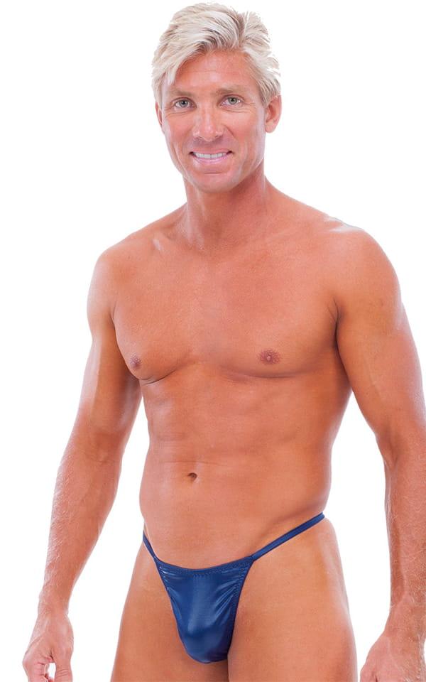 Y Back G String Swim Thong in Wet Look Navy Blue 1