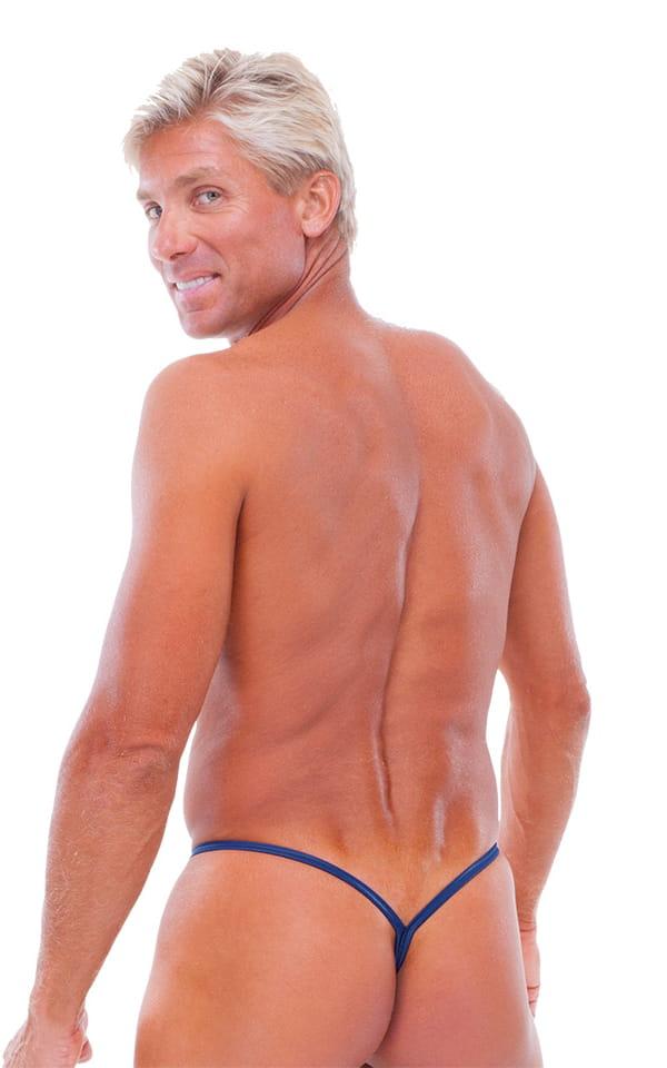 Y Back G String Swim Thong in Wet Look Navy Blue 3