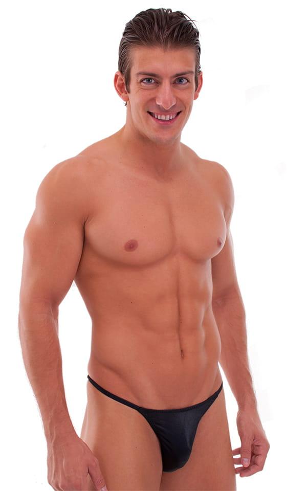 Skinny Side Half Back Swim Suit in Wet Look Black 1