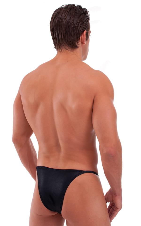Skinny Side Half Back Swim Suit in Wet Look Black 3