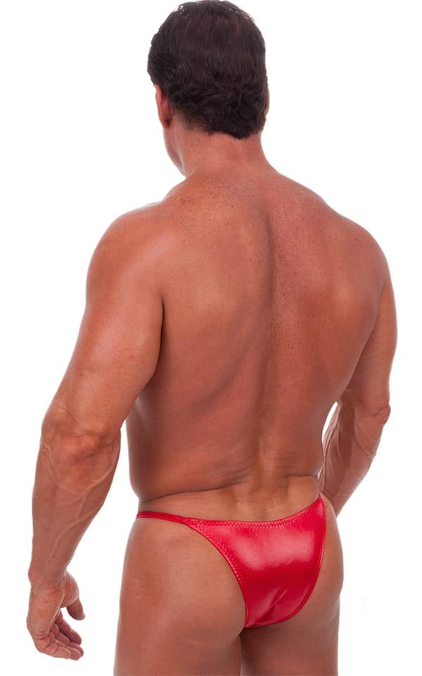 Skinny Side Half Back Swim Suit in Wet Look Lipstick Red 3