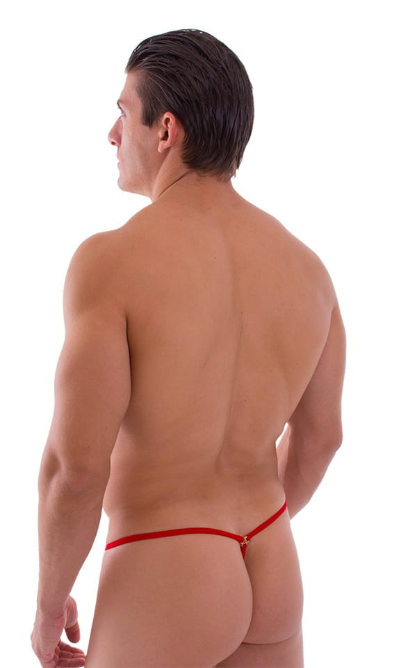 Crixus G String Swim Suit in Semi Sheer ThinSKINZ Apricot and Red 3