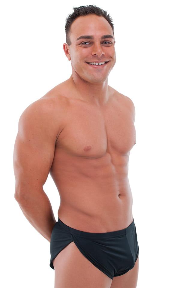 Swimsuit Cover Up Split Running Shorts in ThinSKINZ Black 1