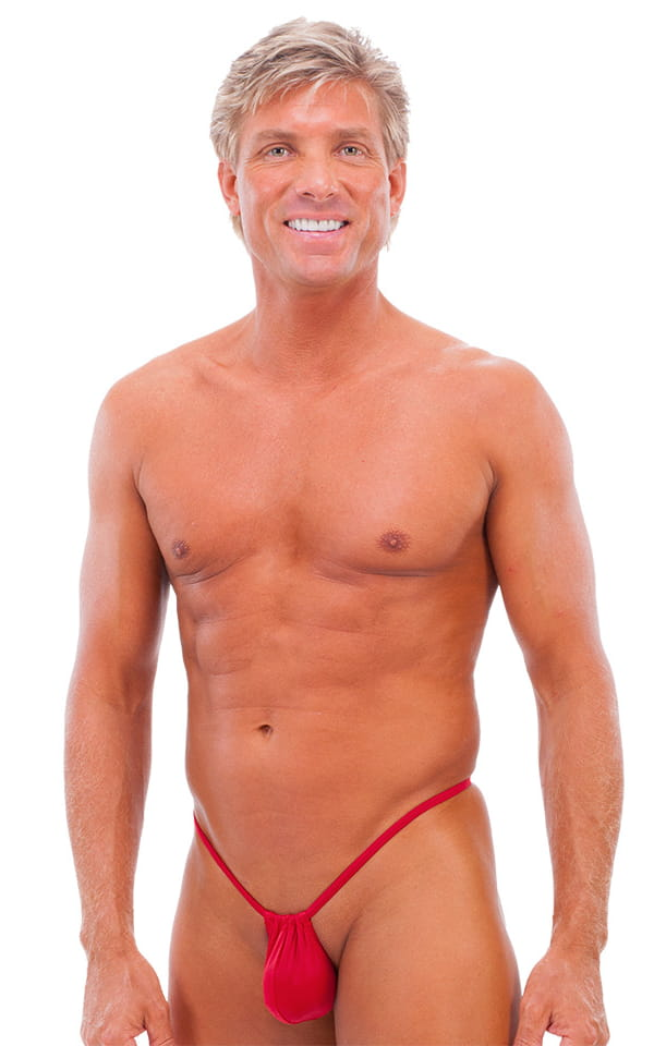 G String Swimsuit - Adjustable Pouch in ThinSkinz Semi Sheer Red 1
