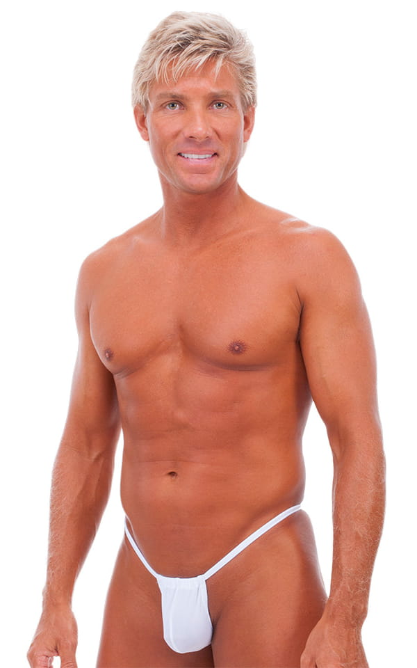 G String Swimsuit - Adjustable Pouch in White Power 1