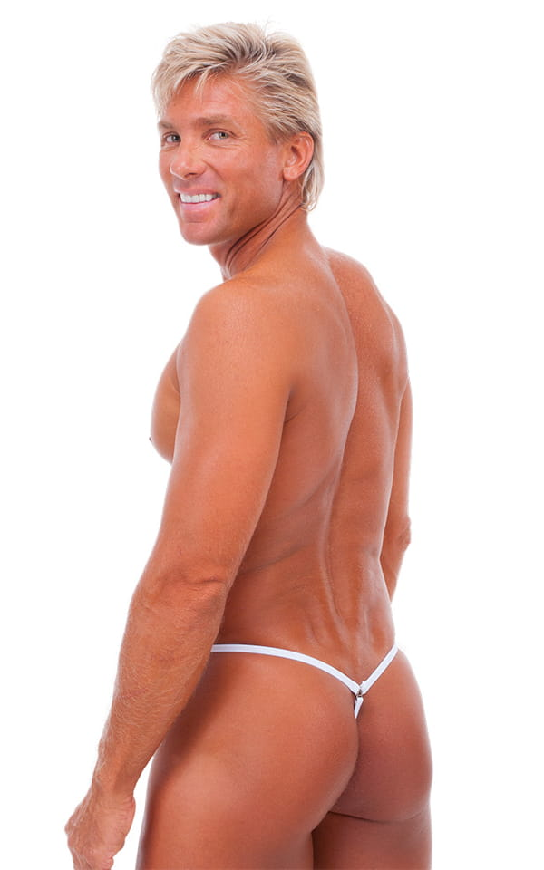 G String Swimsuit - Adjustable Pouch in White Power 3