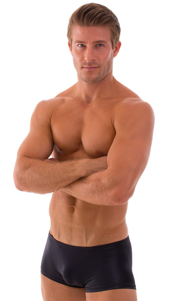 Extreme Low Square Cut Swim Trunks in Wet Look Black 4