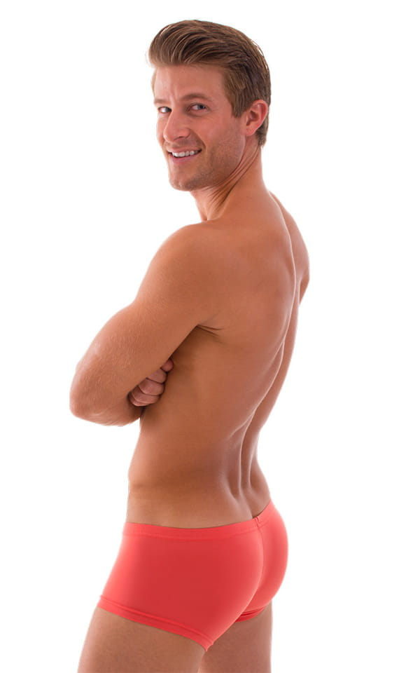 Extreme Low Square Cut Swim Trunks in Semi Sheer ThinSKINZ Apricot 3