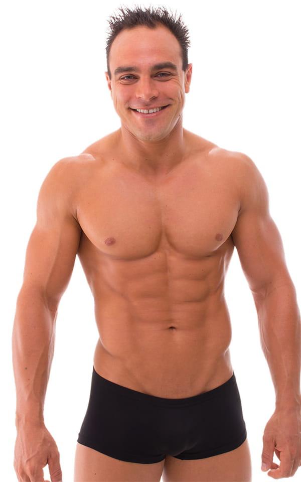 Extreme Low Square Cut Swim Trunks in Semi Sheer ThinSKINZ Black 1