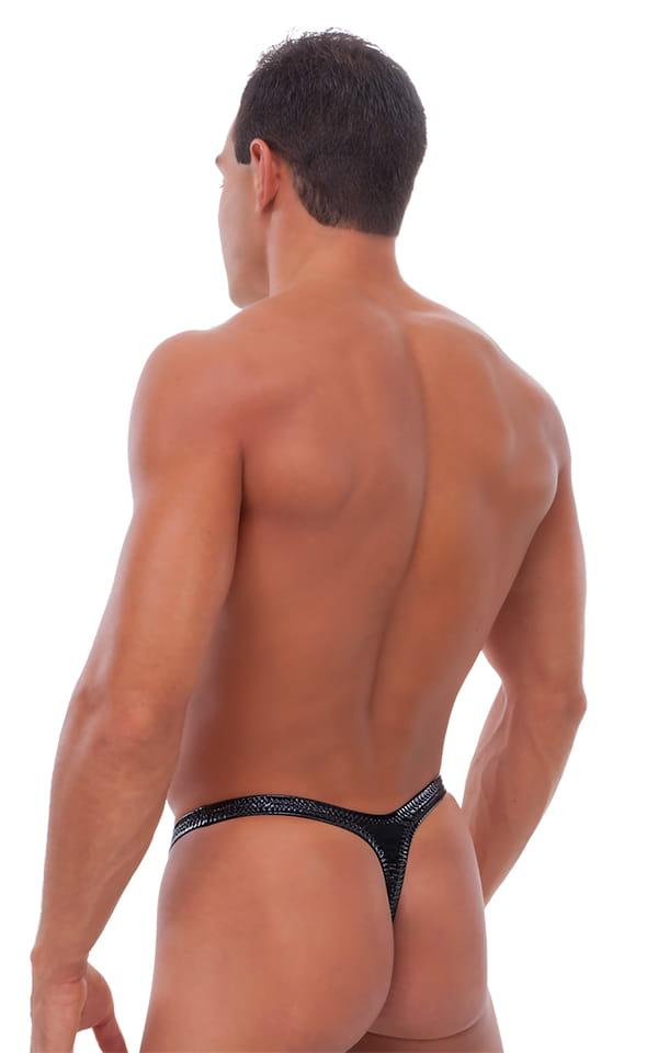 Male Review Stripper Swim Thong in Gloss Black Vinyl 3