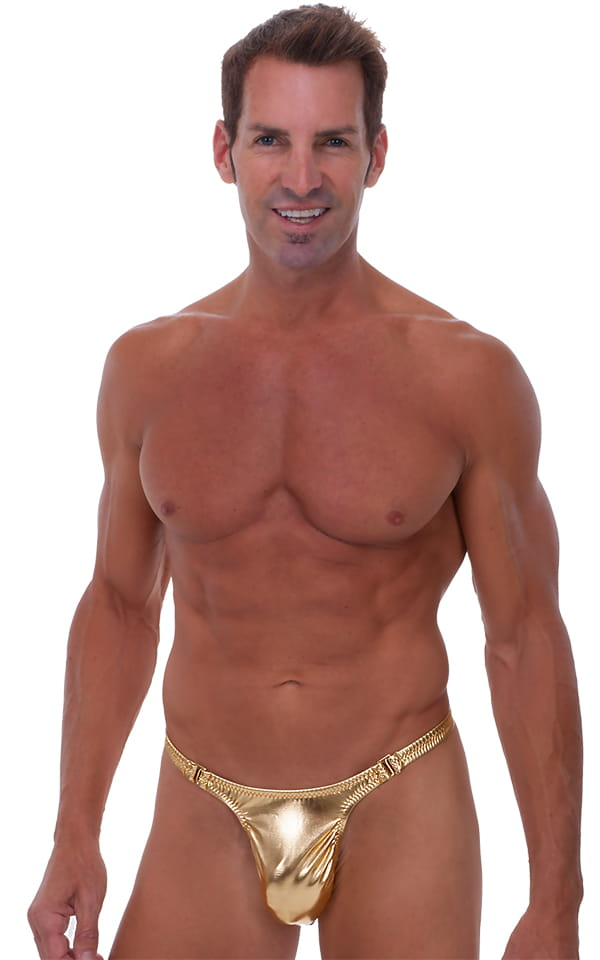Male Review Stripper Swim Thong in Liquid Gold 1