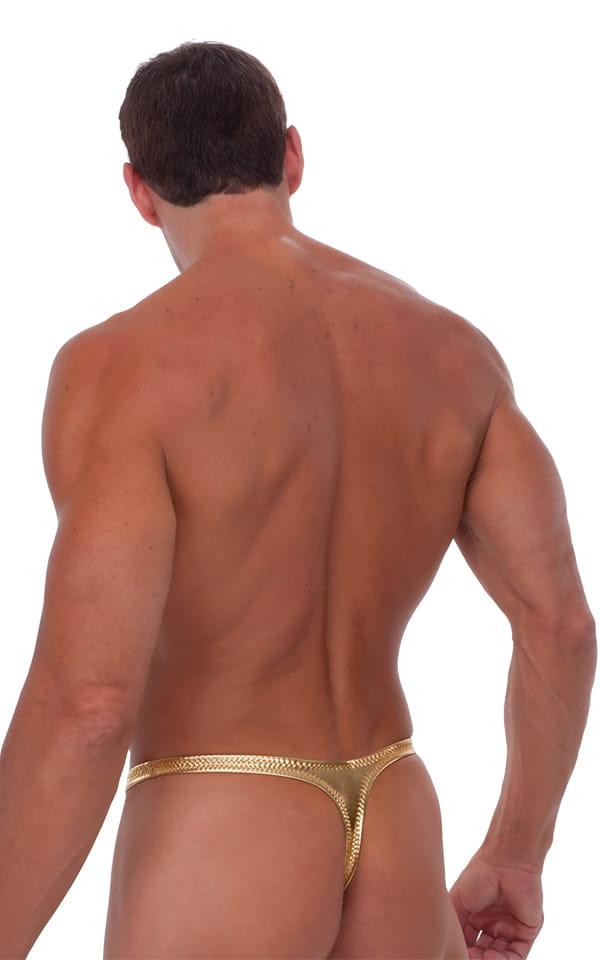Male Review Stripper Swim Thong in Liquid Gold 3