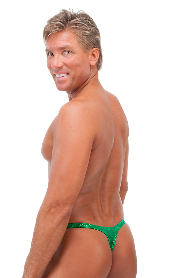 Male Review Stripper Swim Thong in Metallic Mystique Kelly/Kelly 3