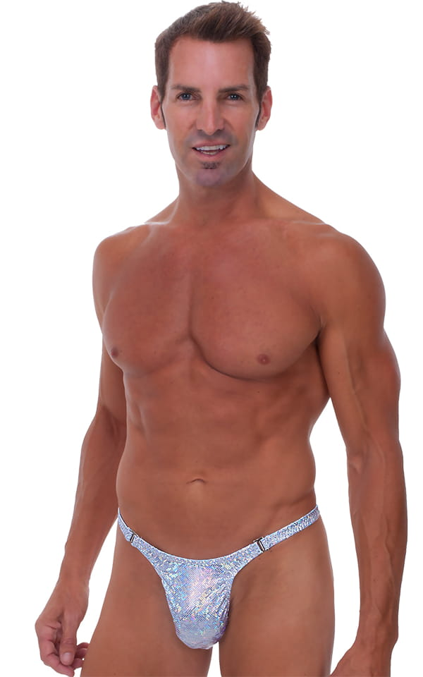 Male Review Stripper Swim Thong Swimsuit in Holographic Silver 1