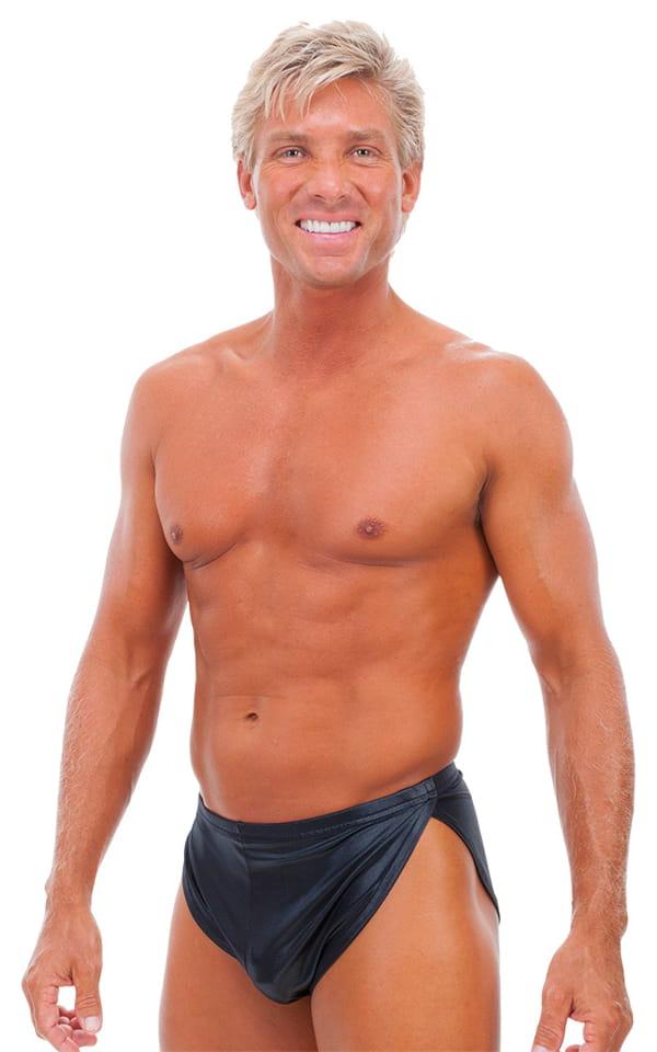 Swimsuit Cover Up Split Running Shorts in Wet Look Black 1