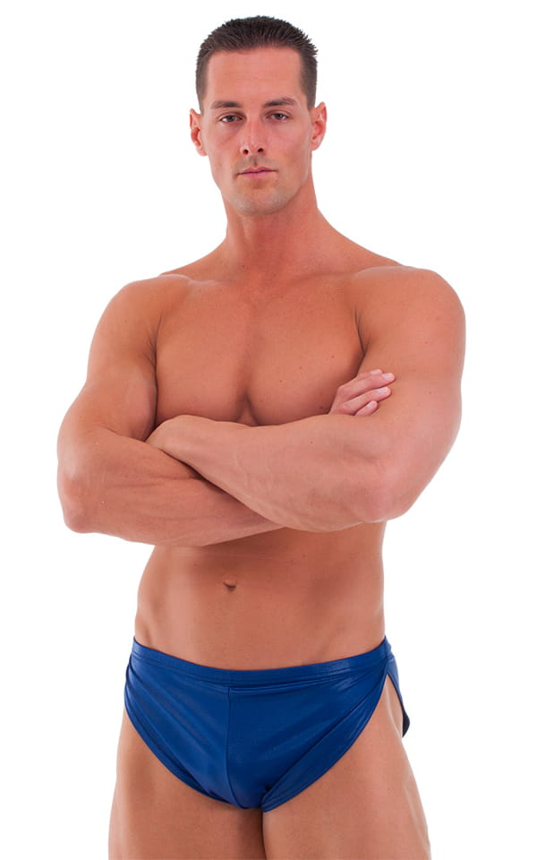 Swimsuit Cover Up Split Running Shorts in Wet Look Navy Blue 1
