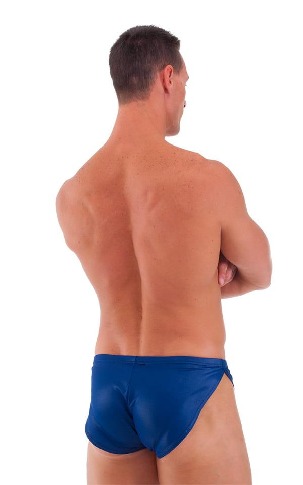 Swimsuit Cover Up Split Running Shorts in Wet Look Navy Blue 3