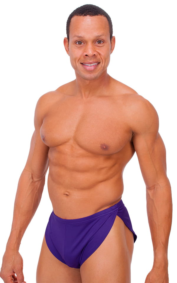 Swimsuit Cover Up Split Running Shorts in Shiny Purple 1