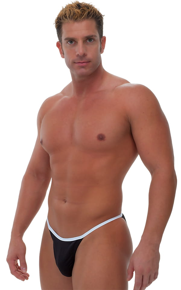 Banded Bikini Bathing Suit in Black and Optic White 1