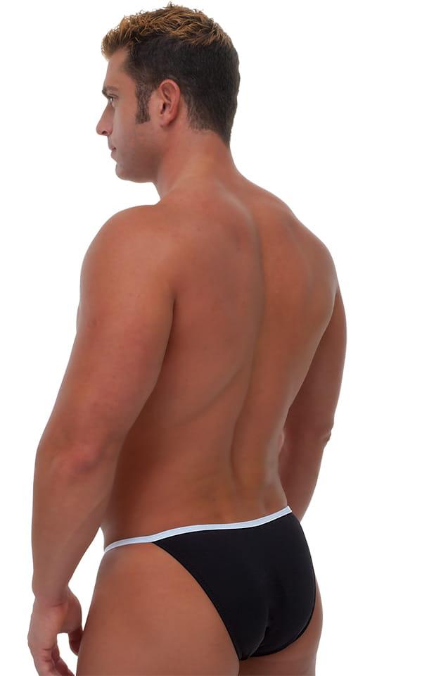 Banded Bikini Bathing Suit in Black and Optic White 3