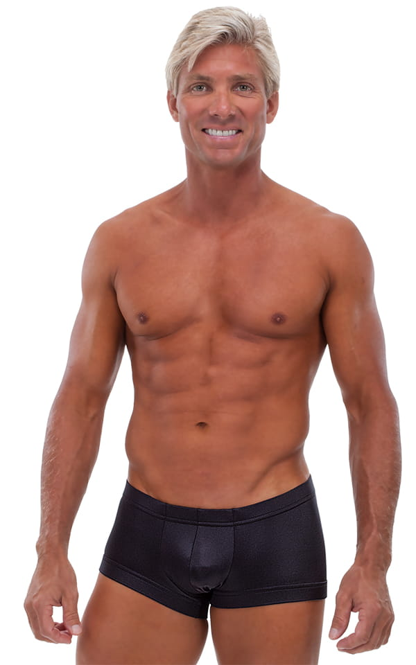 Square Cut - Fitted - Watersports Swim Trunks in Wet Look Black 1