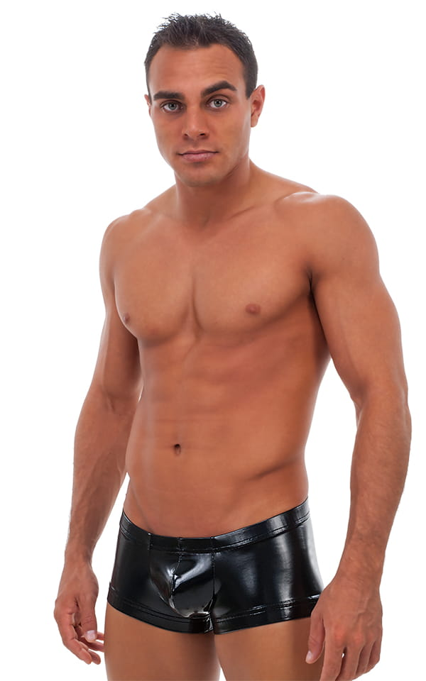 Square Cut - Fitted - Watersports Swim Trunks in Gloss Black Vinyl 1