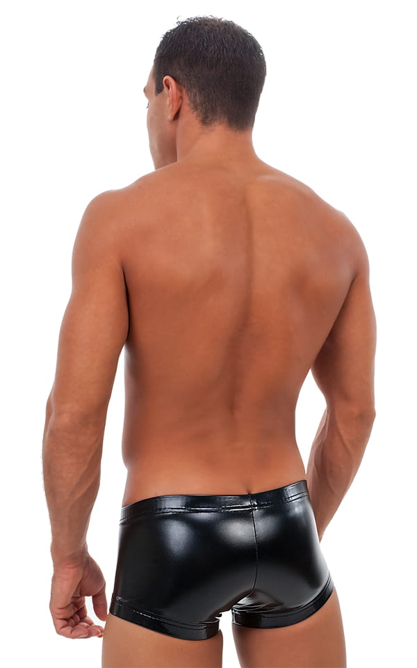 Square Cut - Fitted - Watersports Swim Trunks in Gloss Black Vinyl 3