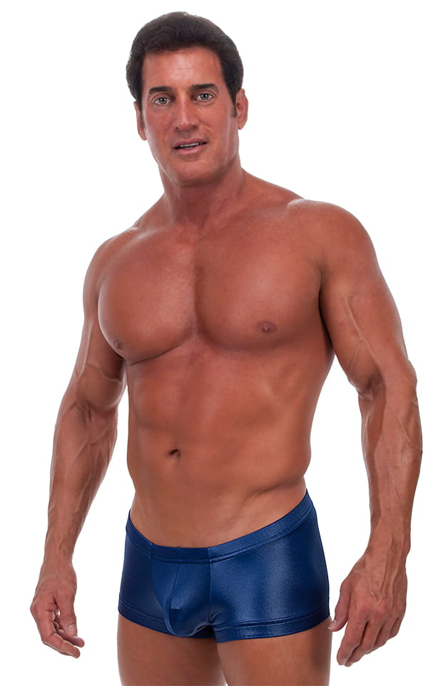 Square Cut - Fitted - Watersports Swim Trunks in Wet Look Navy Blue 1
