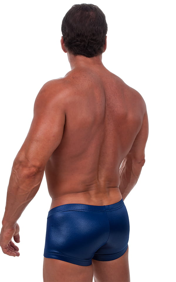 Square Cut - Fitted - Watersports Swim Trunks in Wet Look Navy Blue 3