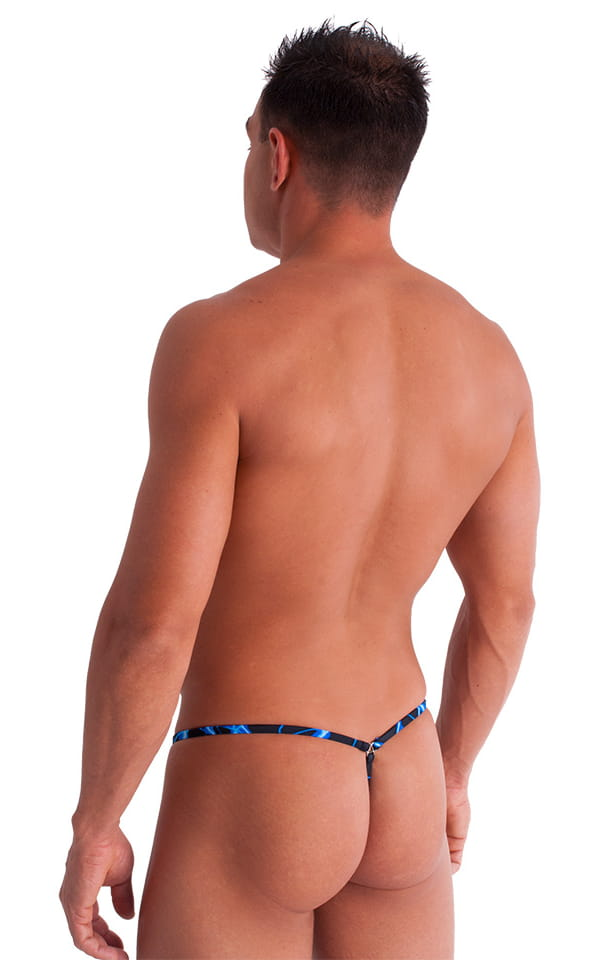 G String Swimsuit - Adjustable Pouch in Blue Lightning 4
