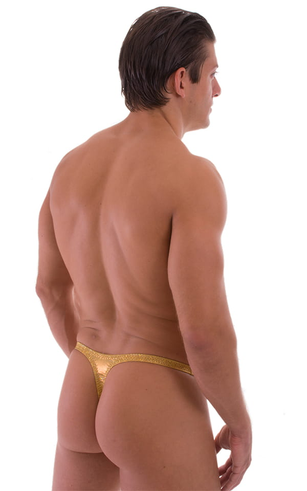 Quick Release Thong - Bravura Pouch in Holographic Shattered Glass Gold-Gold 3