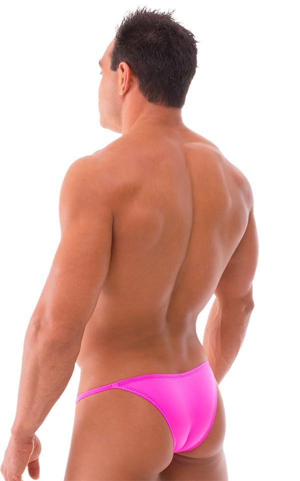 Stuffit Pouch Half Back Tanning Swimsuit in Neon Hot Pink 3