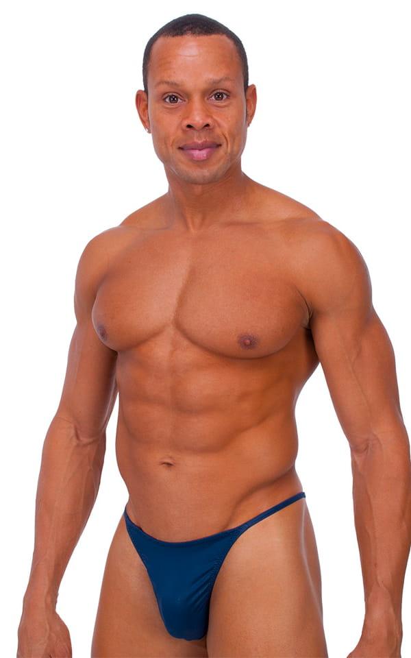 Skinny Side Half Back Swim Suit in Dark Navy Blue 1