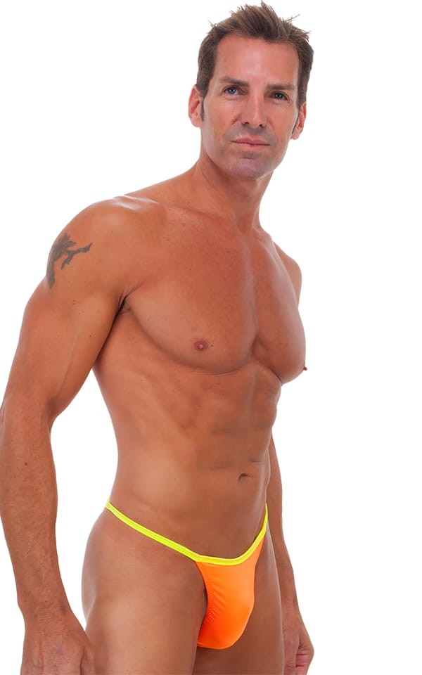 Banded - High Cut - Half Back - Swimsuit in Neon Apricot and Chartreuse 1