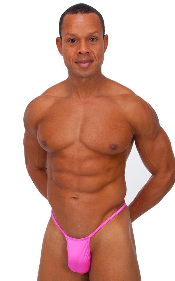 Roman G String Swim Thong in Wet Look Hot Pink 1
