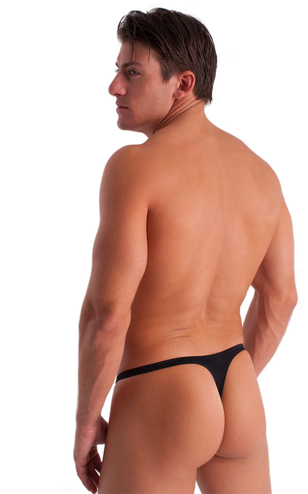 T Back Thong Swimsuit in Semi Sheer ThinSKINZ Black 3