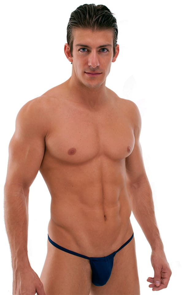 Adjustable to Micro Pouch Tanning Bikini in Semi Sheer ThinSKINZ Navy Blue 1