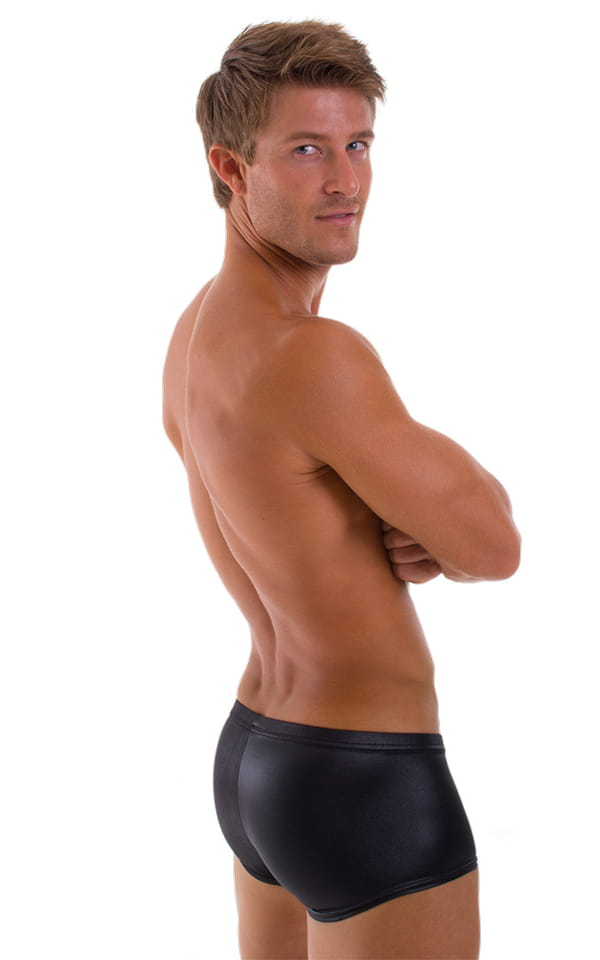 Fitted Pouch - Boxer - Swim Trunks in Wet Look Black 3