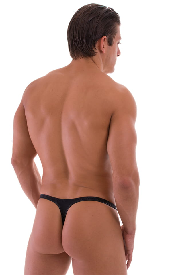 T Back Thong Swimsuit in Wet Look Black 3